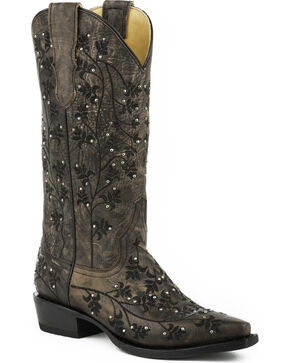 Stetson Women's Desiree Studded Embroidered Western Boots - Snip Toe, Brown, hi-res