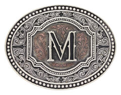 "Montana Silversmiths Men's Initial ""M"" Two-Tone Attitude Belt Buckle, Silver, hi-res"
