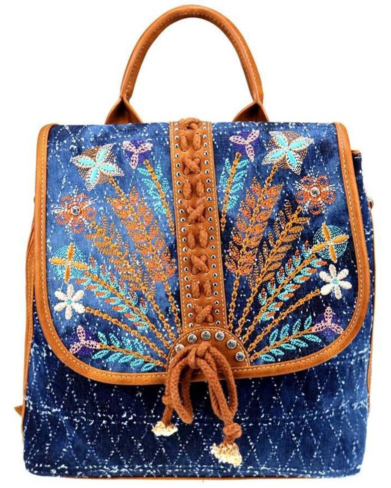 Montana West Women's Lacey Embroidered Backpack, Brown, hi-res