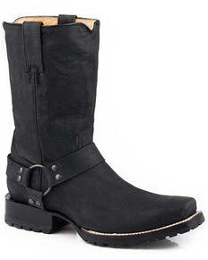 Roper Men's Biker Black Western Boots - Square Toe, Black, hi-res