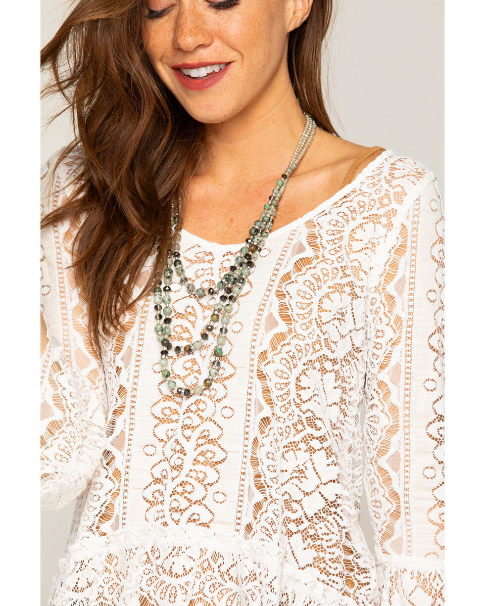 Shyanne Women's Jade Sea Semi-Precious Stone Multi-Strand Necklace, Silver, hi-res