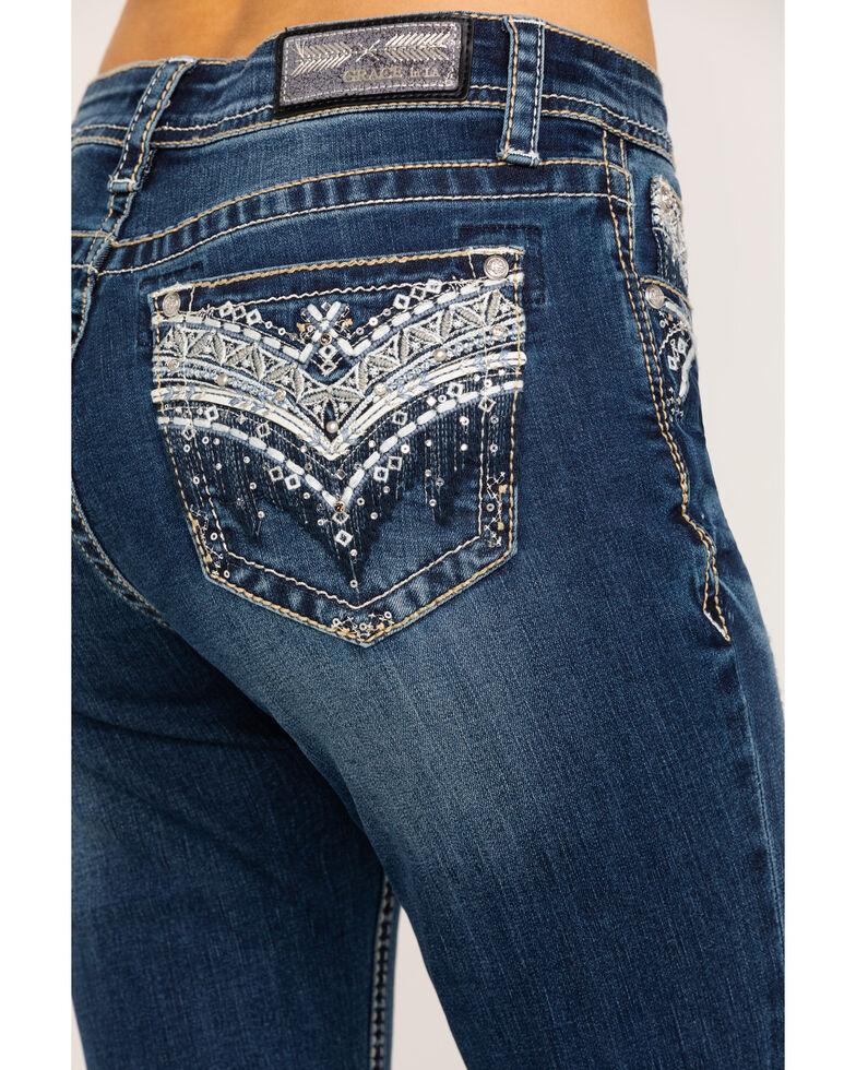 "Grace in LA Women's Embellished Medium 34"" Bootcut Jeans, Blue, hi-res"
