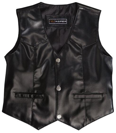 Roper Boys' Faux Black Suede Basic Vest, , hi-res