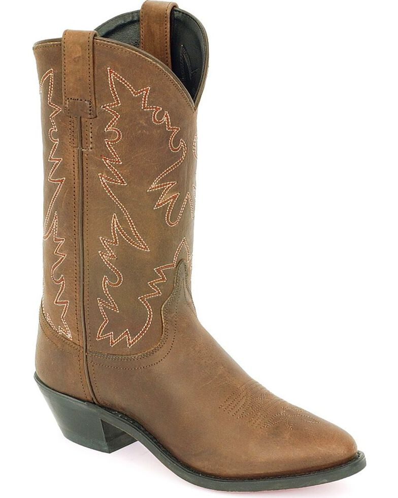 Old West Distressed Leather Cowgirl Boots, Distressed, hi-res