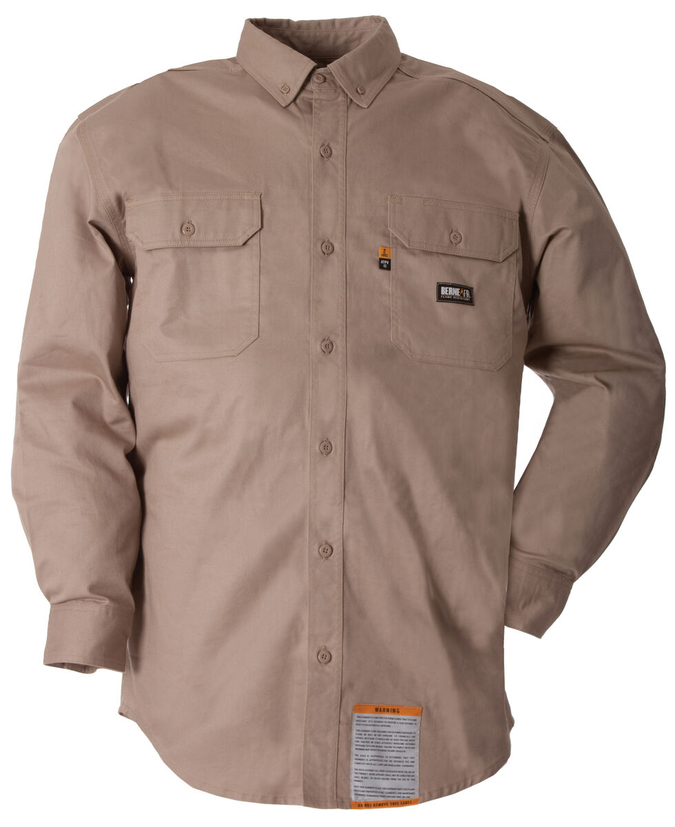 Berne Flame Resistant Button Down Work Shirt - Tall Sizes, Khaki, hi-res