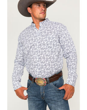 Cody James Men's Paisley Print Long Sleeve Shirt, White, hi-res