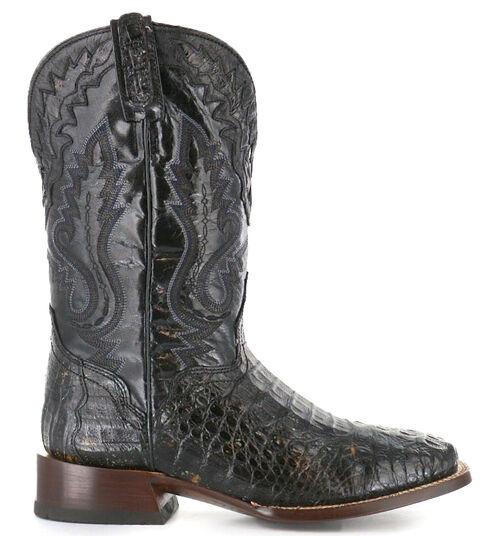 El Dorado Handmade Caiman Cowboy Boots - Square Toe, Black, hi-res