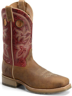 Double H Men's ICE Roper Western Boots - Square Toe, Brown, hi-res