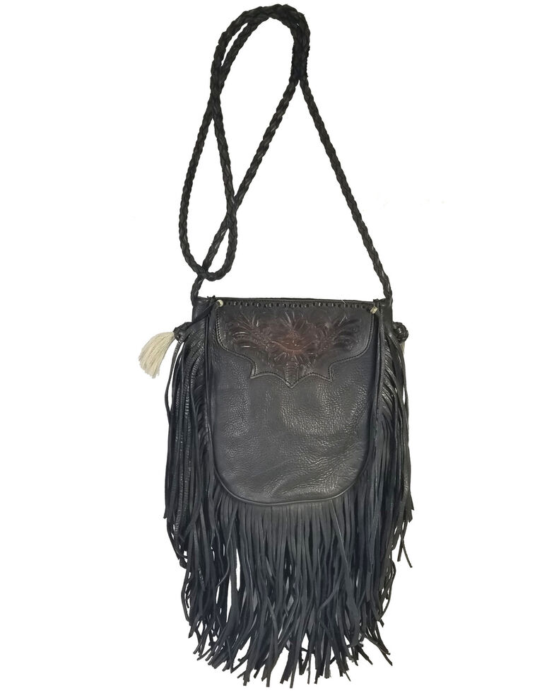 Kobler Leather Women's Tooled Pouch Crossbody Bag, Black, hi-res