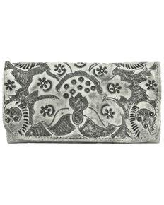 American West Women's Heritage Safari Tooled Wallet, Grey, hi-res