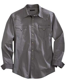 Tin Haul Men's Solid Poplin Grey Long Sleeve Western Shirt , Grey, hi-res