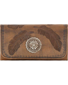 American West Women's Brown Tri-Fold Sacred Bird Feather Wallet , Distressed Brown, hi-res