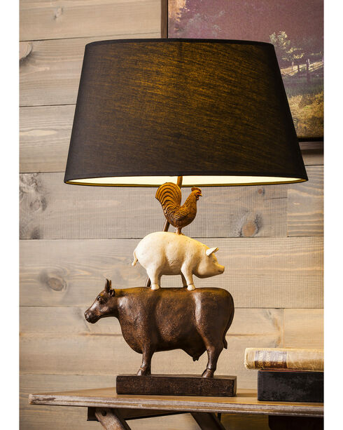 Evergreen Farmhouse Animals Linen Shade Resin Base Lamp , Brown, hi-res