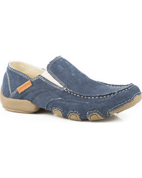 Roper Men's Blue Dougie Casual Driving Moc Shoes , Blue, hi-res