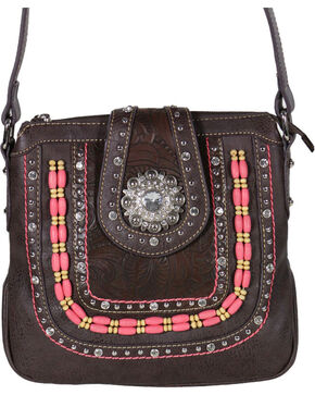 Montana West Women's Beaded Concealed Carry Crossbody Bag, Taupe, hi-res