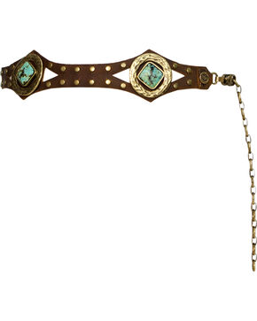 Leatherock Women's African Turquoise Concho Belt, Brown, hi-res