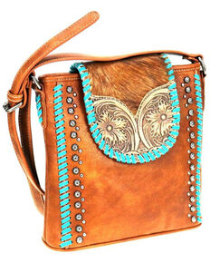 Trinity Ranch Women's Genuine Hair on Hide Crossbody, Brown, hi-res