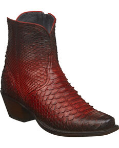 24d764712c8 Lucchese Womens Handmade Zita Antique Red Python Booties - Square Toe