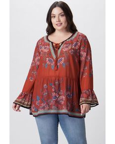 Flying Tomato Women's Rust Floral Print Top - Plus, Rust Copper, hi-res