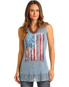 Panhandle Women's Let Freedom Ring Graphic Tank, Heather Blue, hi-res