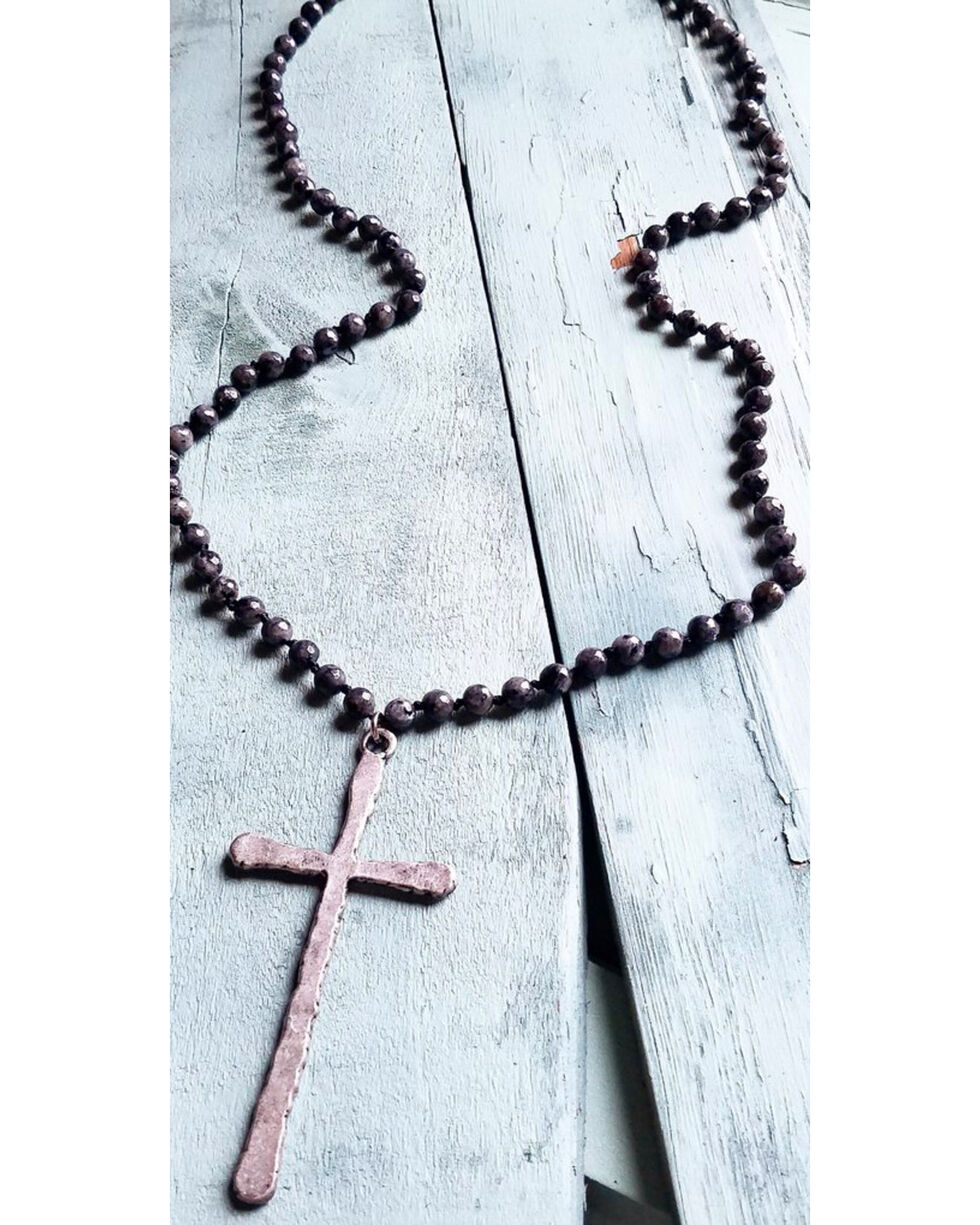 Jewelry Junkie Black Labradorite Beaded Cross Necklace, Black, hi-res