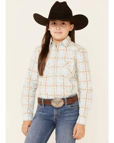 Rough Stock By Panhandle Girls' Light Blue Overprint Long Sleeve Snap Western Shirt , Light Blue, hi-res