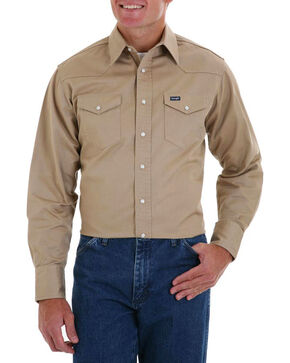 Wrangler Men's Khaki Authentic Cowboy Cut Work Shirt , Beige/khaki, hi-res