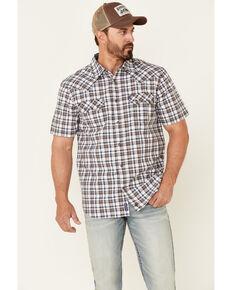 Moonshine Spirit Men's Fence Post Plaid Short Sleeve Snap Western Shirt , White, hi-res