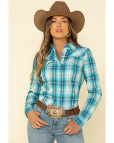 Amarillo Women's Blue Turquoise Plaid Long Sleeve Western Shirt , Blue, hi-res