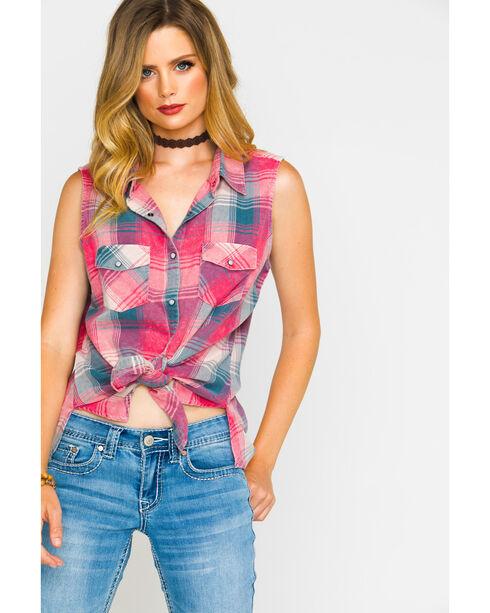Shyanne Women's Plaid Sleeveless Shirt, Coral, hi-res