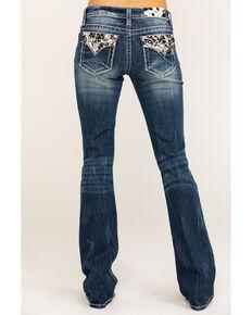 """Miss Me Women's Faux Flap Cowhide 34"""" Bootcut Jeans, Blue, hi-res"""