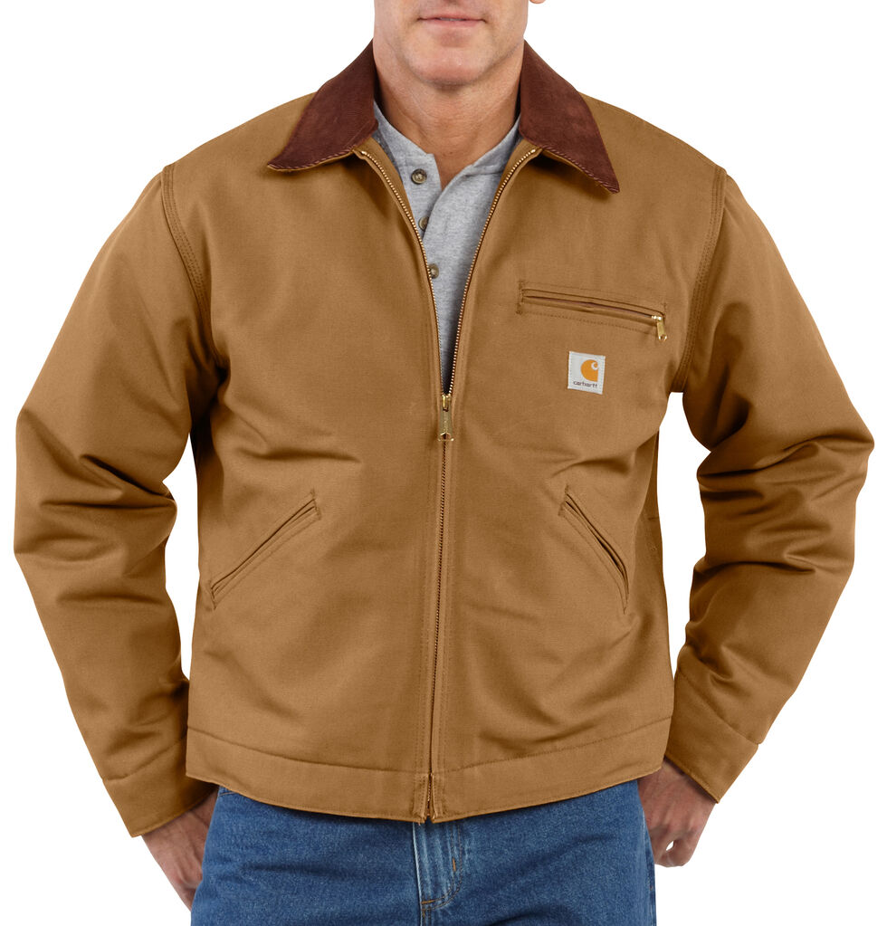 Carhartt Duck Detroit Blanket Lined Canvas Jacket - Big & Tall, Carhartt Brown, hi-res