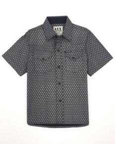 Ely Walker Boys' Black Geo Print Short Sleeve Western Shirt , Black, hi-res
