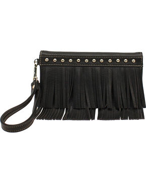 Blazin Roxx Fringe Clutch Wallet, Black, hi-res