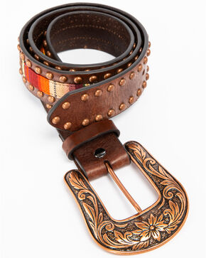 Ariat Women's Copper Studded Serape Western Belt, Brown, hi-res