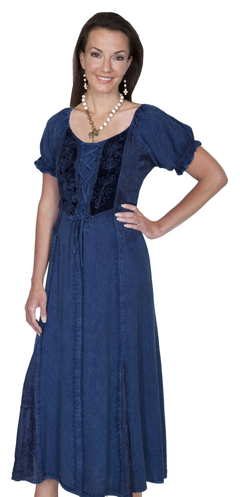 Scully Women't Velvet Lace-Front Dress, Denim, hi-res