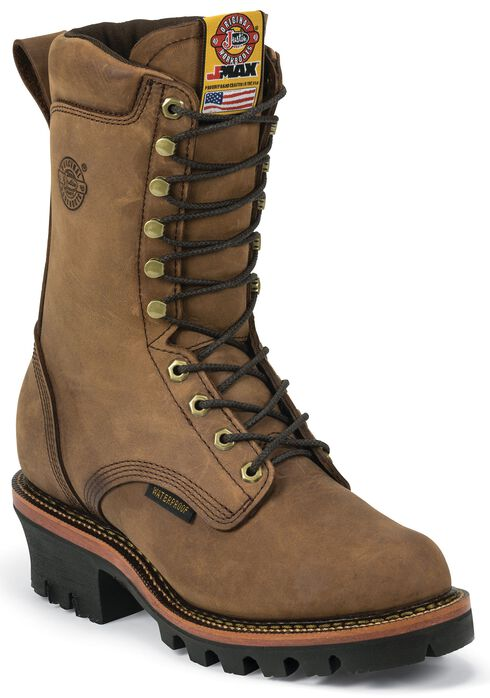 "Justin J-Max Waterproof 10"" Lace-Up Work Boots - Round Toe, Aged Bark, hi-res"