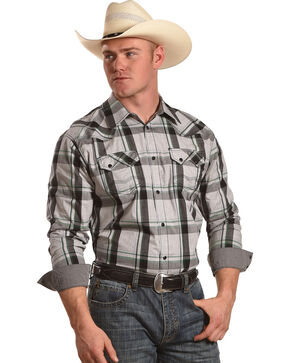 Moonshine Spirit Men's Peavy Plaid Long Sleeve Western Shirt, White, hi-res