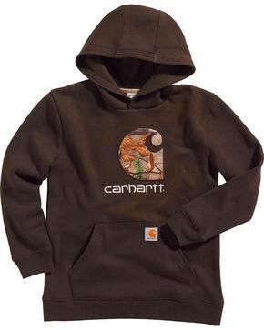 Carhartt Boys' Camo Pullover Sweatshirt, Dark Brown, hi-res