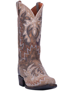 Dan Post Men's Tex Rustic Leather Western Boots – Square Toe , Chocolate, hi-res