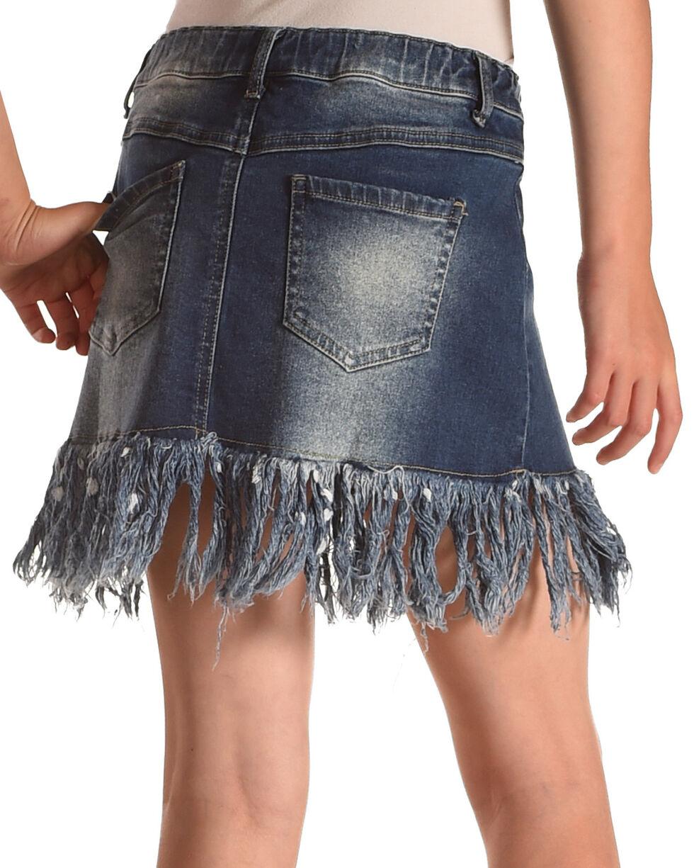 Idol Mind Girls' Fringed Hem Denim Skirt , Indigo, hi-res