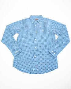 Ariat Boys' Uchino Stretch Geo Print Long Sleeve Western Shirt, Blue, hi-res
