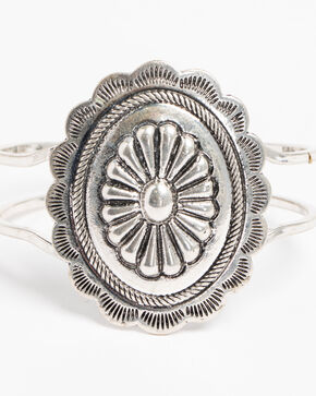 Shyanne Women's Large Concho Hinge Bracelet, Silver, hi-res