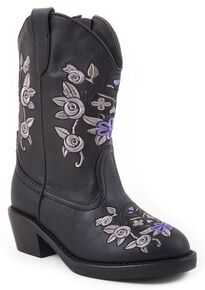 Roper Toddler Girls' Floral Embroidered Cowgirl Boots, Black, hi-res