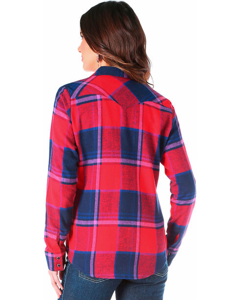 Wrangler Women's Navy Flannel Plaid Shirt , , hi-res