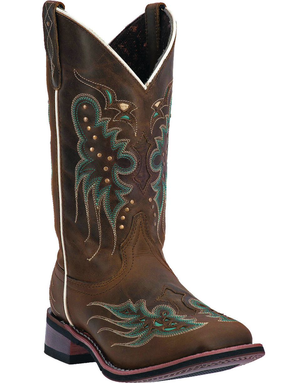 Laredo Women's Sadie Cowgirl Boots - Wide Square Toe, Dark Brown, hi-res