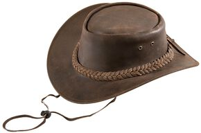 Bullhide Kids' Cedar Grove Leather Outback Hat, Brown, hi-res