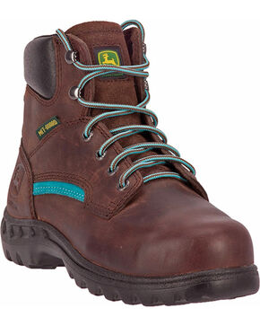 John Deere Women's Lace-Up Work Boots - Steel Toe, Brown, hi-res