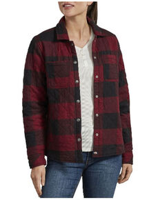 Dickies Women's Black & Red Quilted Flannel Shirt Jacket, Black/red, hi-res