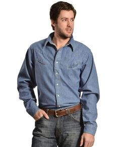 Schaefer Men's Vintage Chisholm Long Sleeve Denim Work Shirt, Denim, hi-res